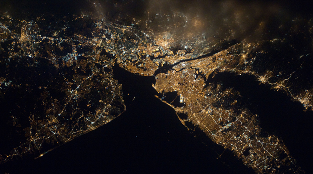 New York City at night, seen from space