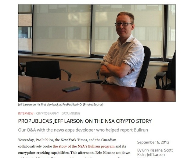 A screenshot of a Source article on the NSA and cryptography