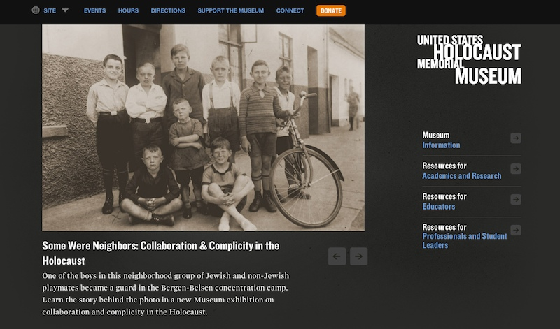 Screenshot of the new U.S. Holocaust Memorial Museum website
