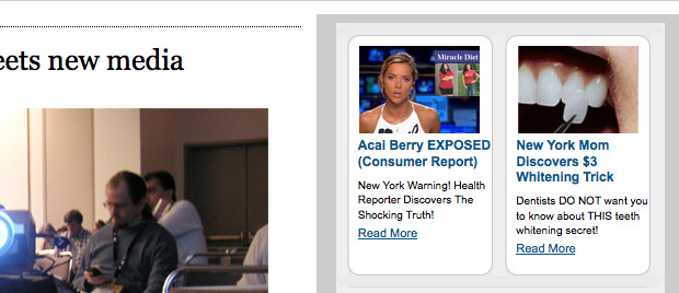 Acai berry and tooth-whitening ads on the LA times website