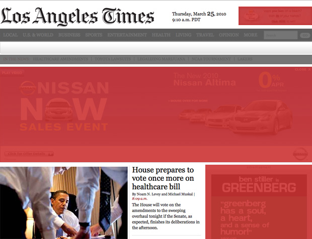 Screencap of the front page of the LA Times website with lots of ads