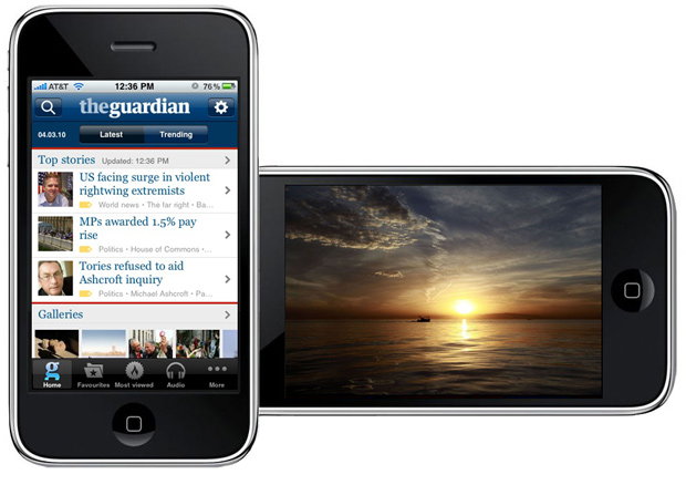 Screenshot of Guardian app