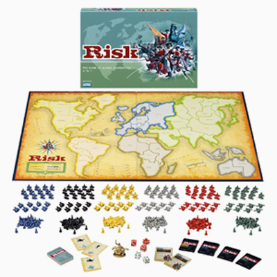 Risk game board (world map) and pieces