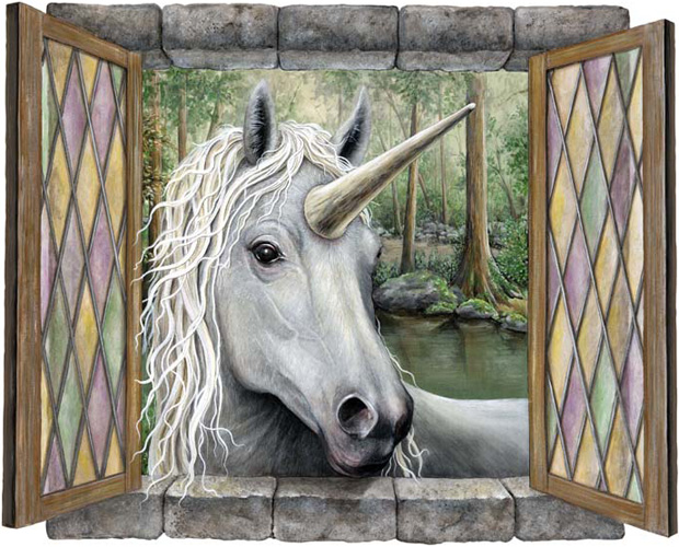 Unicorn looking in window
